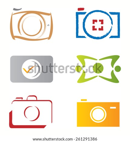 Set of Camera Photograph Icons / Vector Elements - stock vector