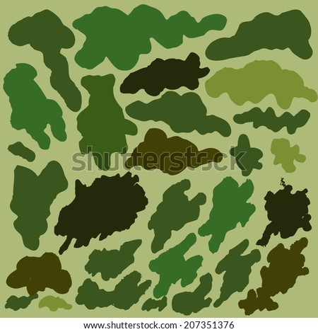 Set of camouflage elements. Vector illustration. - stock vector