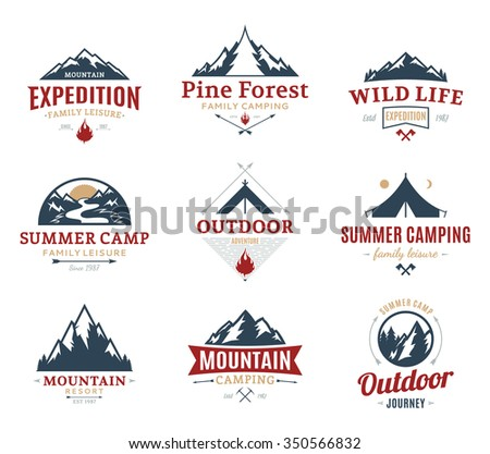 Set of camping and outdoor activity logos. Tourism, hiking and camping labels. Camping and travel icons for tourism organizations, outdoor events and camping leisure. - stock vector