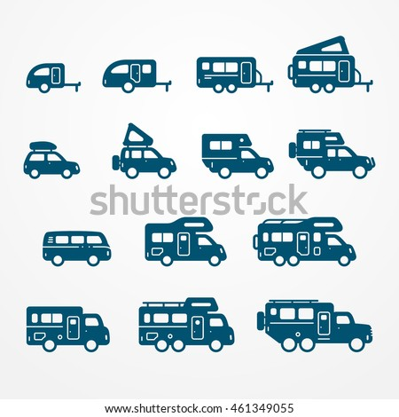Set Of Camping Car Icons In Flat Silhouette Style Travel SUV Pickup Truck