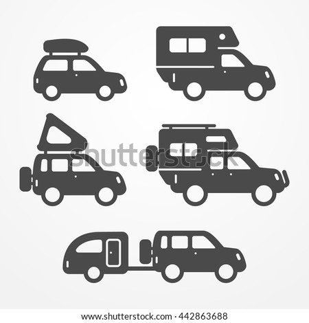 Set Of Camping Car Icons Travel Symbols In Silhouette Style Cars Vector