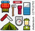 Set of camping equipment graphics and icons - stock vector
