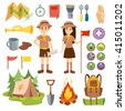 Set of camping equipment symbols and boy scouts icons. Boy scouts vector, outdoor camping icons. Boy scouts graphic nature badge tent nature camping. Boy scouts expedition, exploration summer camping. - stock vector