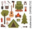 Set of camping equipment symbols and icons made in vector - stock vector