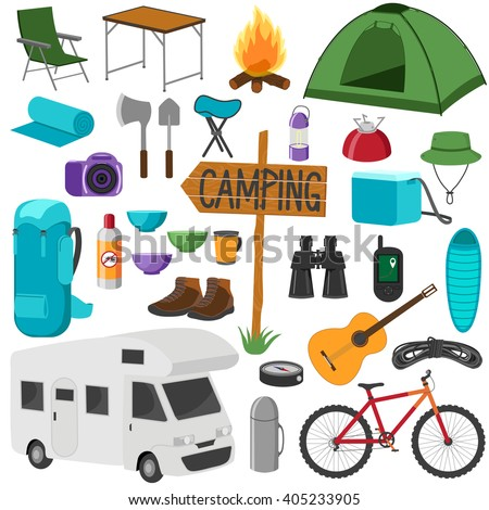 Set Of Camping Equipment Symbols Hike Collection Icons Isolated On White Background