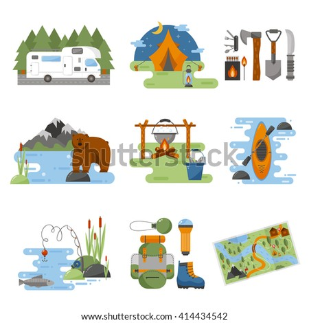Set of camping equipment symbols vector icons. Camping tent and camping fishing rod travel backpack. Campfire activity camping travel backpack. Camping hike tourist campsite fun nature element set. - stock vector