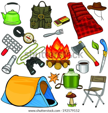 Set of camping gear in cartoon style - stock vector