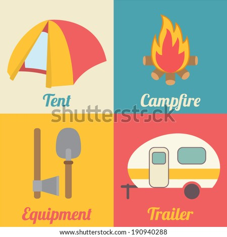 Set Of Camping Icons For Outdoor Activities Campfire Marshmallow Fishing Rod And Gathering