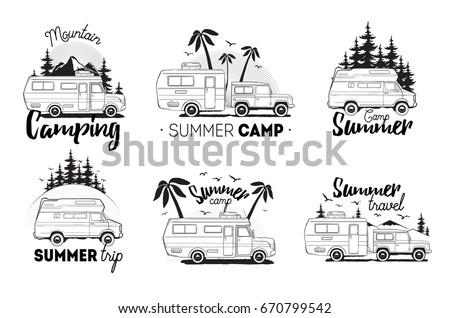 Set Of Camping Trailer Logo Camper Vans Against Landscape Background With Lettering Mountain Summer