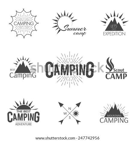 Set of camping vintage adventure hipster emblem in outline style - stock vector