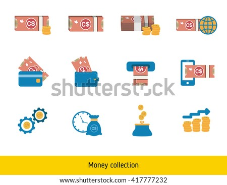 Set of Canadian dollar. Banknote and coin of canadian dollar.  - stock vector