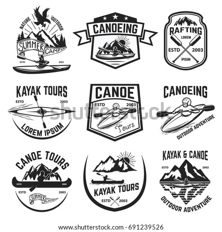 Set of canoeing and kayaking tours emblems. Rafting. Outdoor open water sport. Vector illustration