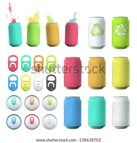 Set of cans and elements. Vector design. - stock vector
