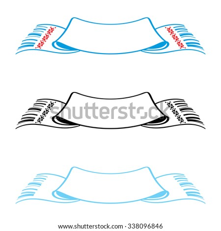 Set of canvas towels - blank and with pattern ornament - stock vector