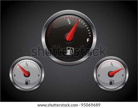Set of car dash boards petrol meter, fuel gauge. Vector illustration - stock vector