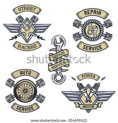 Set of car emblems, badges, symbols. Vintage style. - stock vector