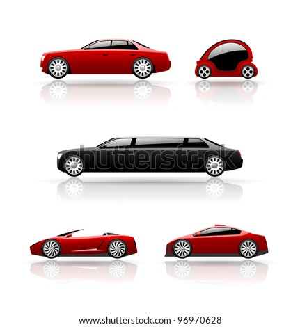 Set of car icons. Vector cars. - stock vector