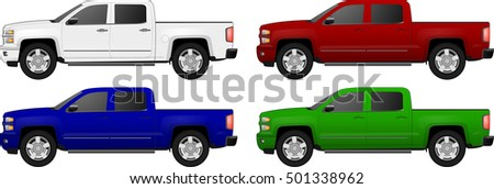 Set of car pickup vector illustration isolated on white background. chevrolet silverado chevrolet silverado chevrolet silverado chevrolet silverado chevrolet silverado chevrolet silverado