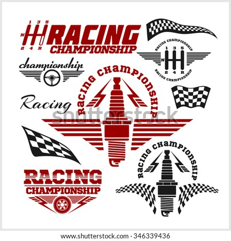 Set of car racing emblems and championship race vector badges - stock vector