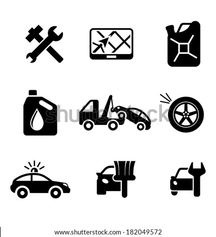 Set of car service and automobile icons including tools, road sign, oil and petrol containers, tow truck, wheel, tyre, jerry can, police, car wash and garage