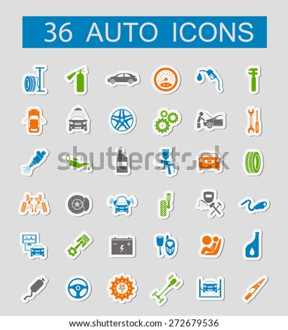 Set Car Service Icons Stickers Style Stock Vector 276643475