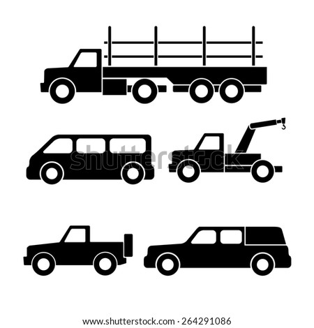 Set of car silhouettes isolated on white. Vector illustration - stock vector