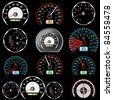 Set of car speedometers for racing design. - stock photo