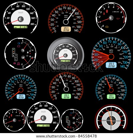 Set of car speedometers for racing design. - stock vector
