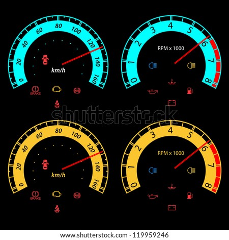 Set of car speedometers for racing design. vector illustration - stock vector