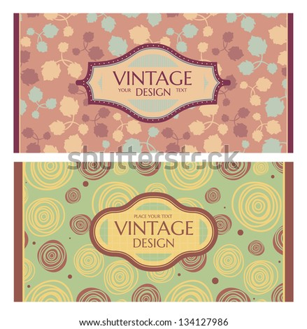 Set of card in retro style. Great for invitations and greeting cards.