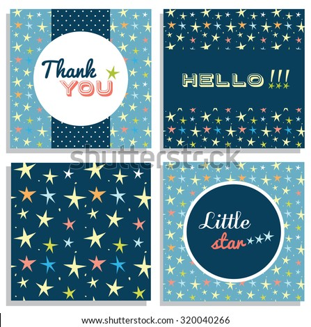 Set of card templates, thank you card design, vector illustration