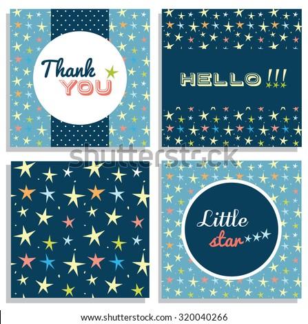 Set of card templates, thank you card design, vector illustration - stock vector