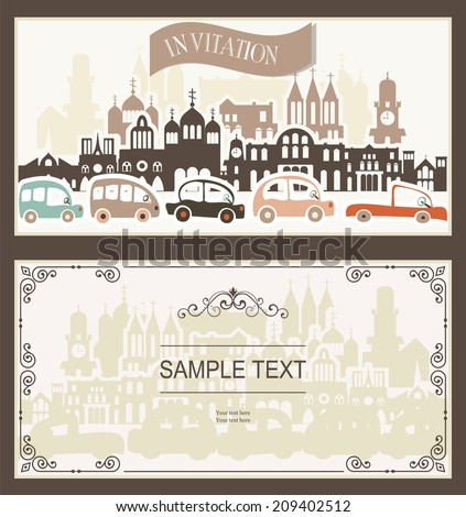 set of card with seamless cartoon map of cars and buildings ,