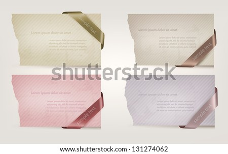 Set of cardboard paper banners with ribbons. Vector