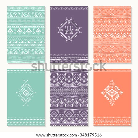 Set of cards, ethnic design. Stylish tribal geometric backgrounds. Templates for invitations, postcards, notepads with aztec ornaments. Vector illustration. - stock vector