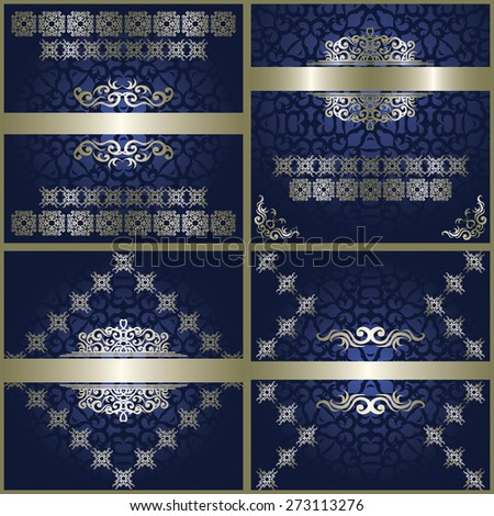 Set of cards. Modern invitations with vintage borders. Vintage decoration in silver        - stock vector