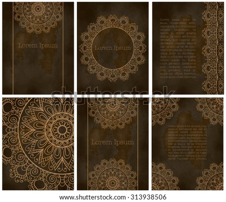 Set of cards or invitation. Vintage decorative elements. Hand drawn background. Islam, Arabic, Indian, Pakistan motifs. Vector.