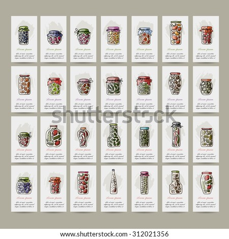 Set of cards, pickle jars with fruits and vegetables, sketch for your design. Vector illustration - stock vector