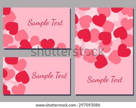 set of cards templates with heart pattern  vector illustration - stock vector