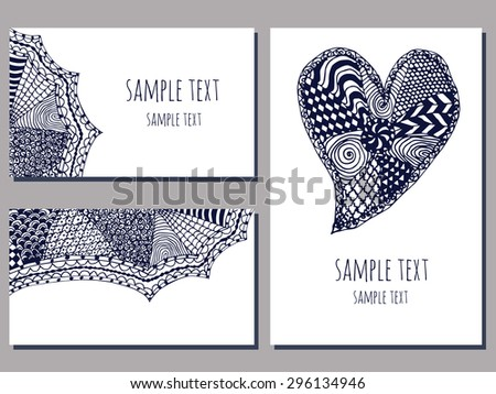 set of cards templates with zentangle hand drawn ornament of blue and white color vector illustration - stock vector
