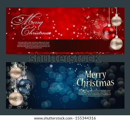 Set of cards with Christmas BALLS, stars and snowflakes,vector  illustration - stock vector