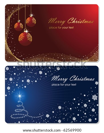 Set of cards with Christmas tree, Christmas balls stars and snowflakes, illustration - stock vector