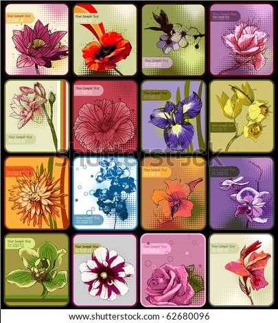 set of 16 cards with colored blossoming flowers - stock vector
