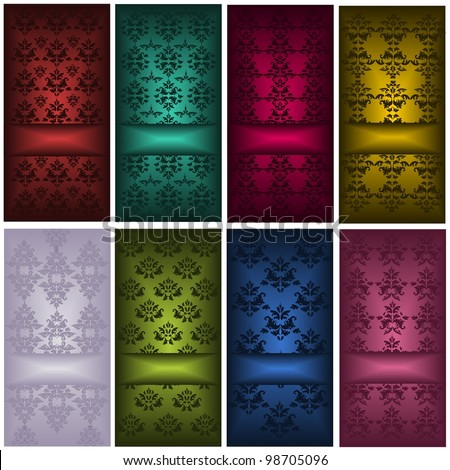Set of cards with damask patterns - stock vector