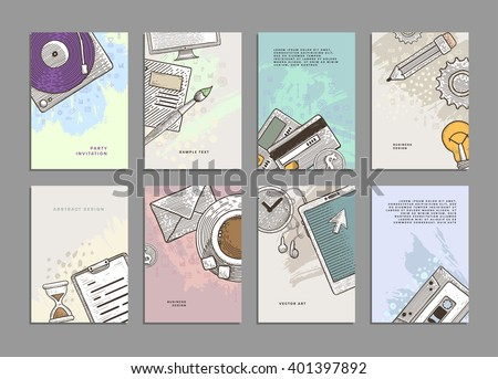 Set of Cards with Engraving Vintage Style Business Icons. Office Supplies and Business Elements.Design for Flyers, Placards, Posters, Invitations, Brochures. Artistic Creative Templates. - stock vector