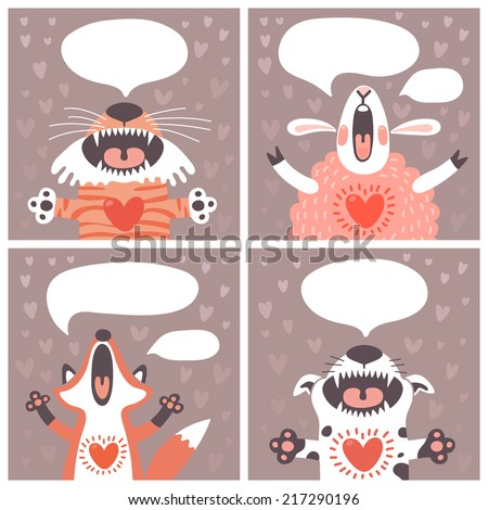 Set of cards with funny animals. Vector illustration. - stock vector
