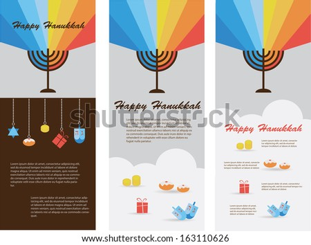set of 3 cards with jewish hanukkah holiday infographics - stock vector