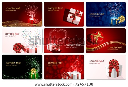 Set of cards with Presents, illustration - stock vector