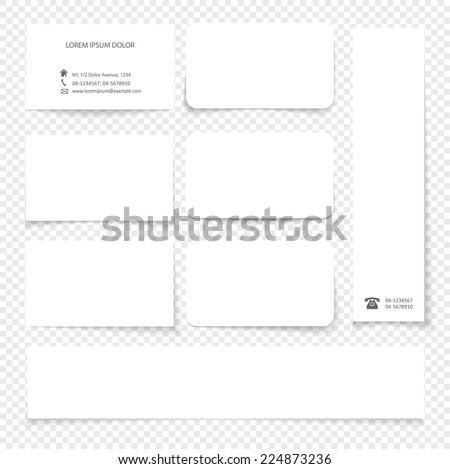 Set of cards with transparent shadow.