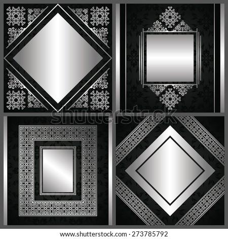 Set of cards with vintage decoration in silver. Cards with decorative luxury frames, borders and ribbons         - stock vector